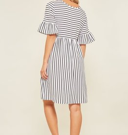 Striped Dress with Trumpet Sleeves