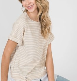 Side Tie Knit Top with Long Hem