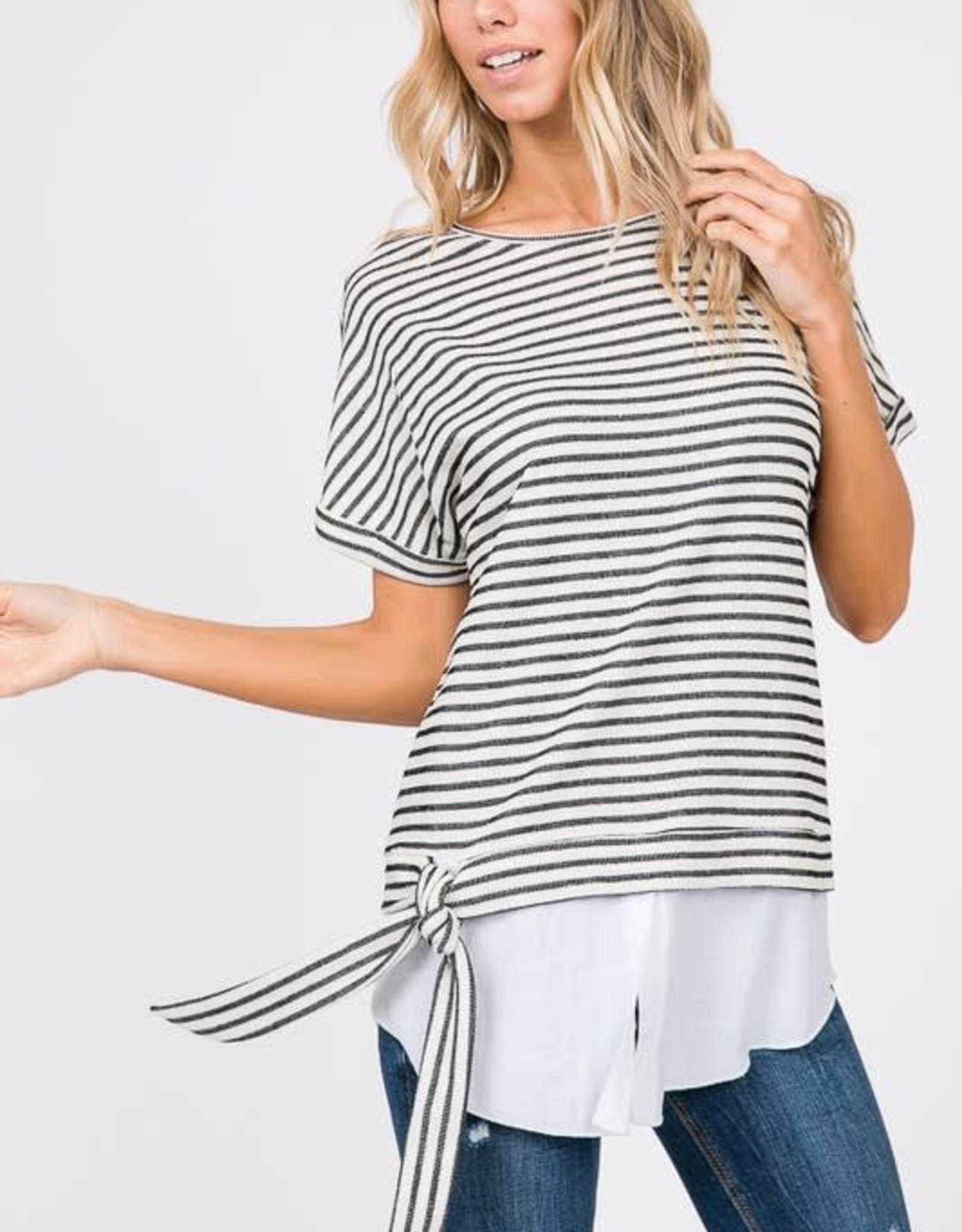Side Tie Knit Top with Long Hem