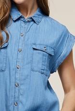 Denim Short Sleeve Button Up