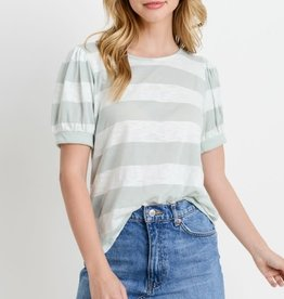 Striped Jersey Puffy SS Top