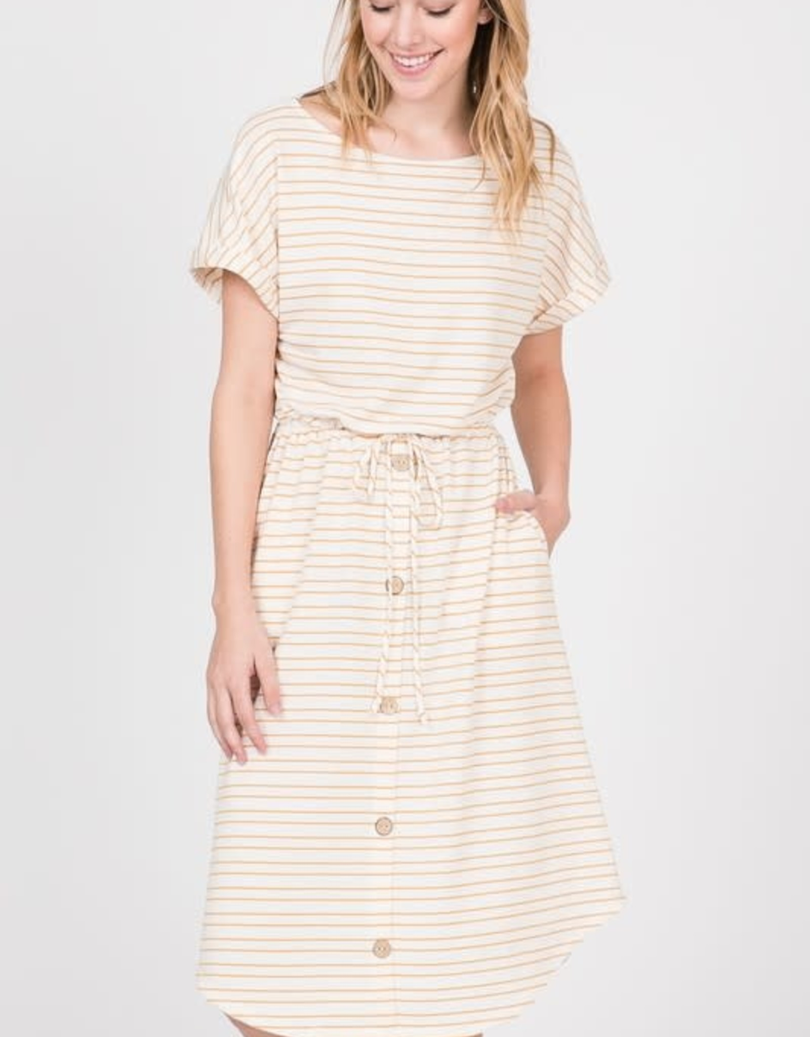 Striped Boat neck tie waist button detail