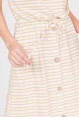 Striped Boat neck tie waist button detail
