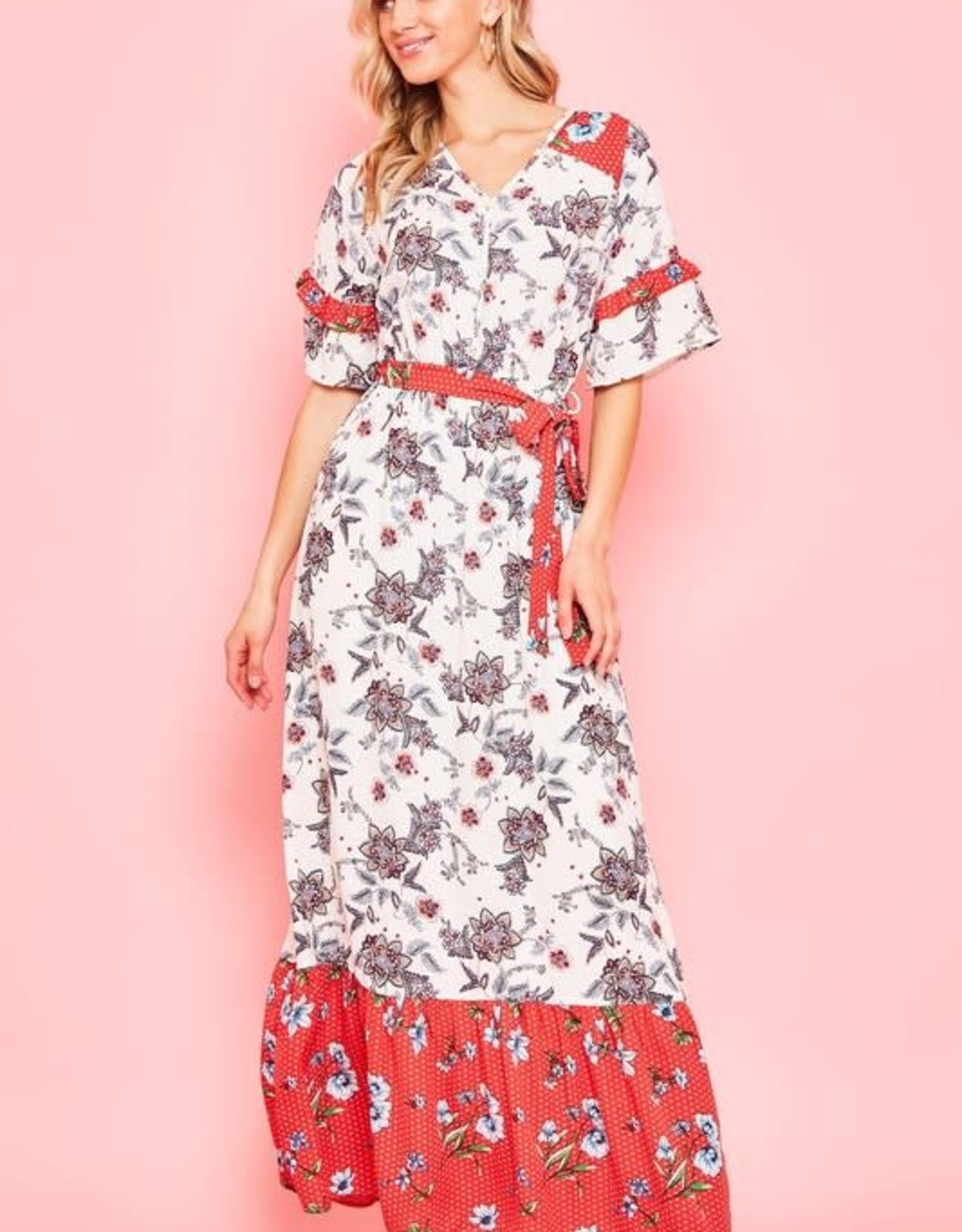 Floral lined short sleeve maxi dress v-neck.