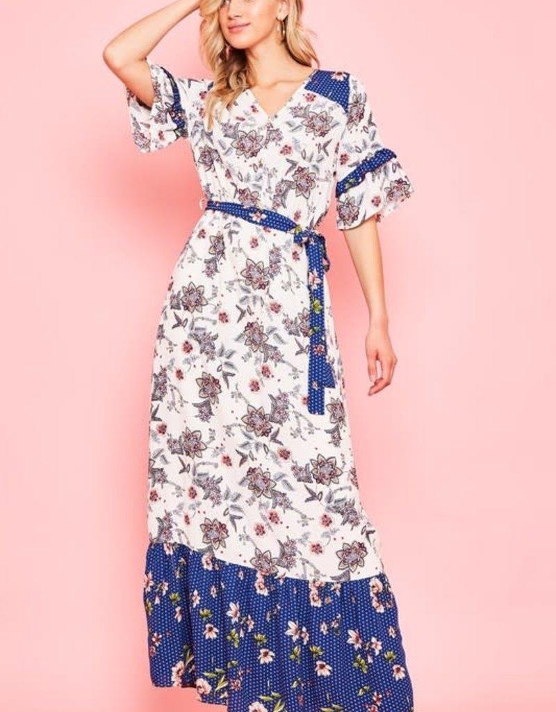 Floral lined short sleeve maxi dress v-neck.