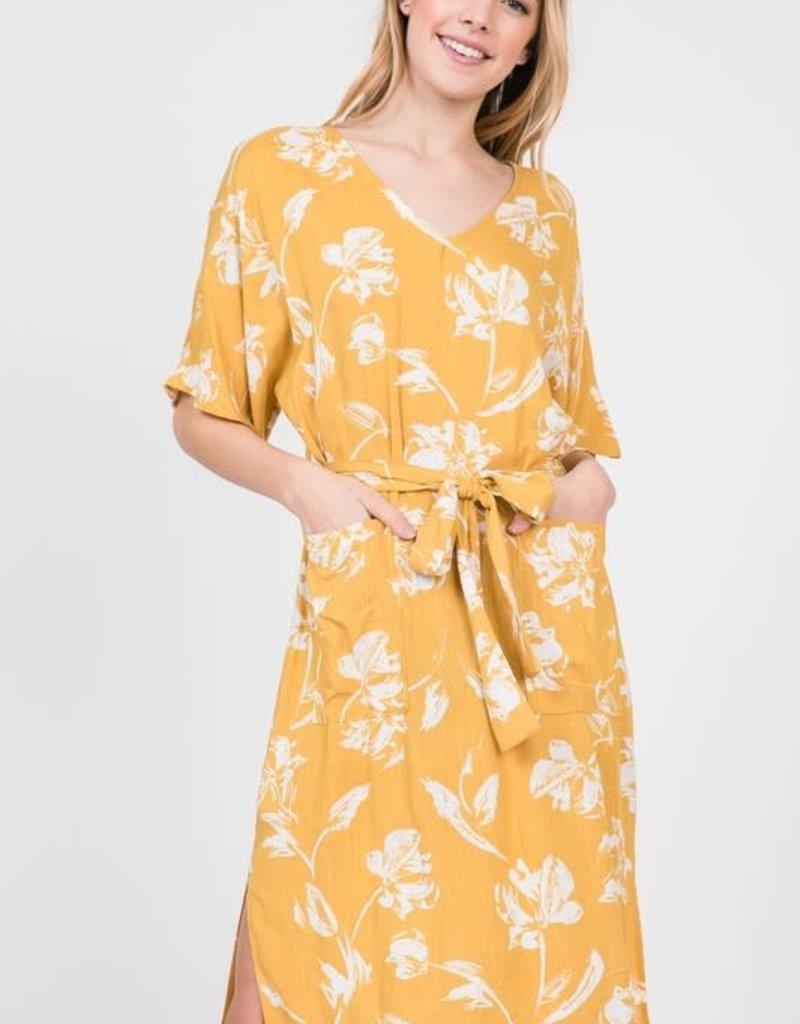 Floral Print Linen Dress