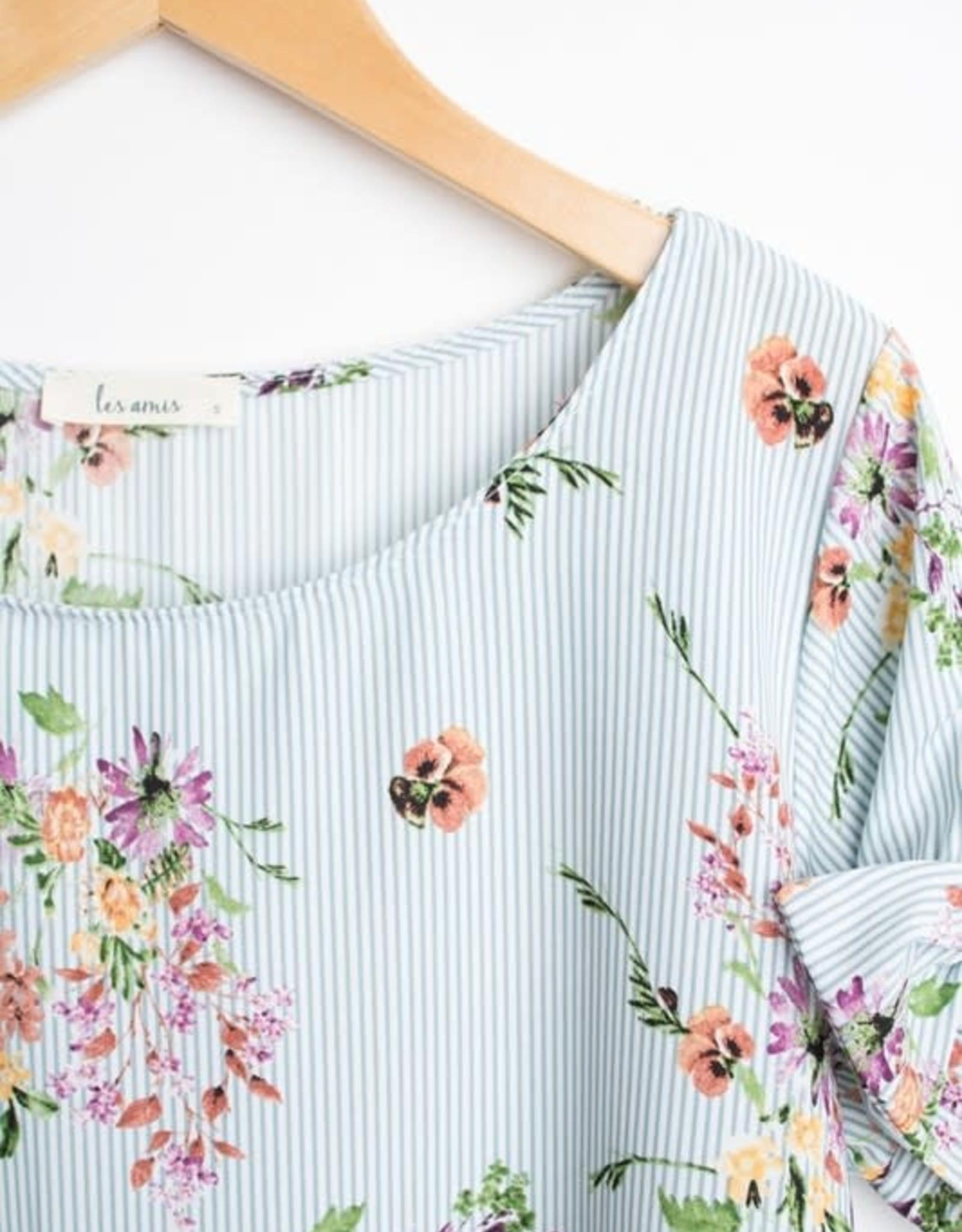 Striped Floral Top  tie on Sleeves