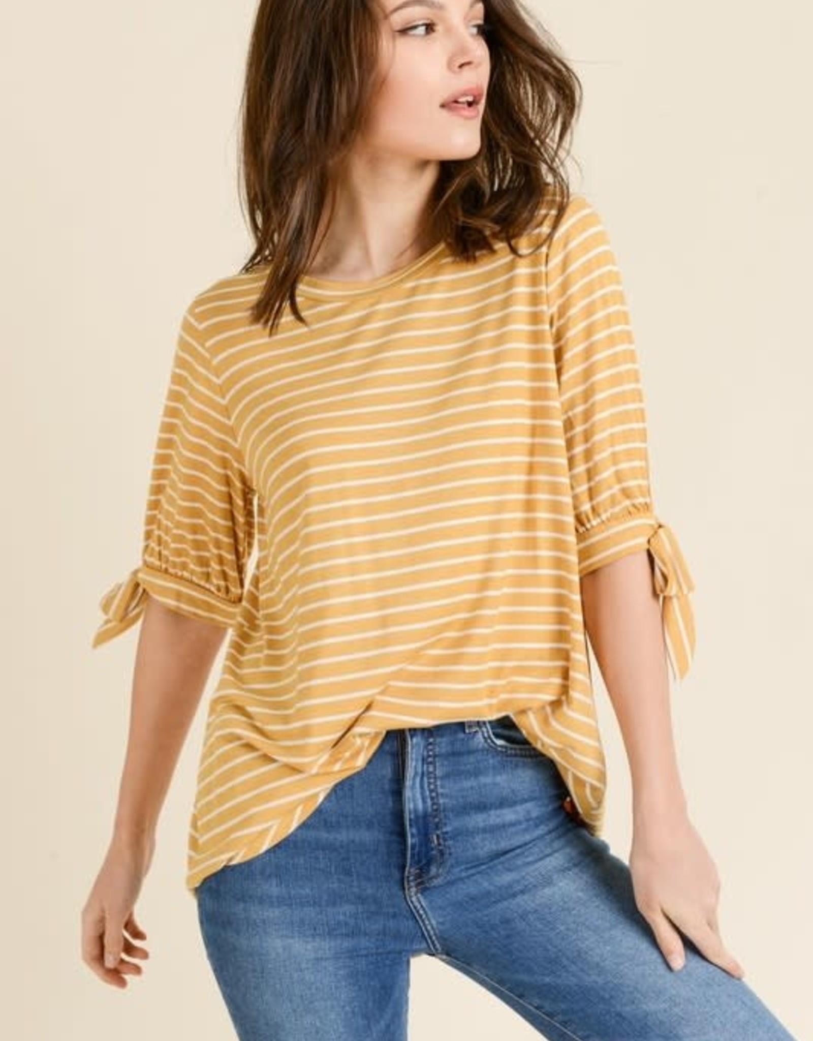 Striped Tie Sleeve Top