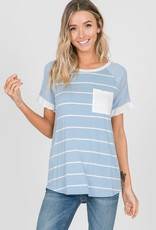 Stripe Mix Raglan Ruffle Sleeve