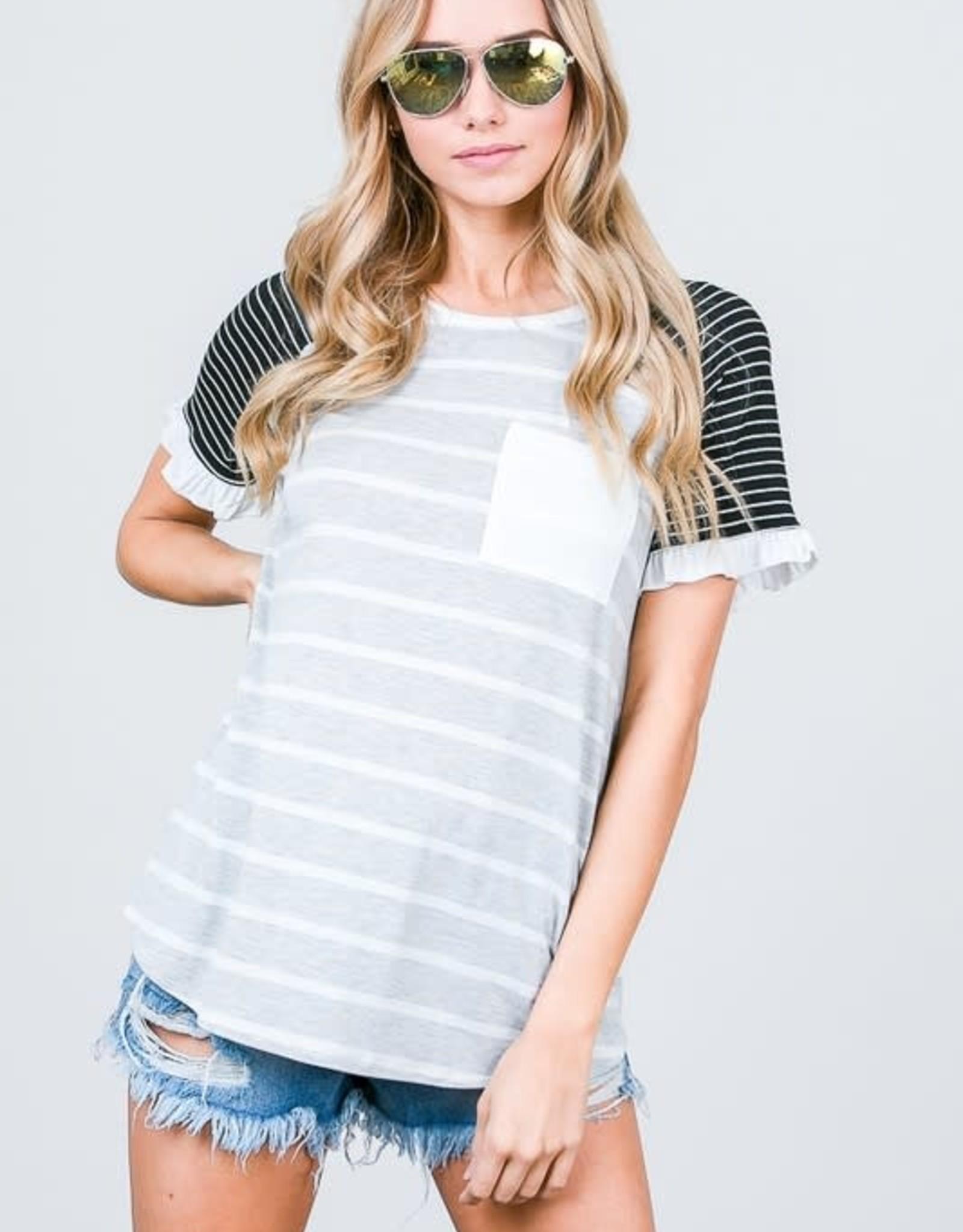Stripe Mix Raglan Ruffle Sleeve