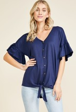 Ruffle Sleeve Solid Tie Top