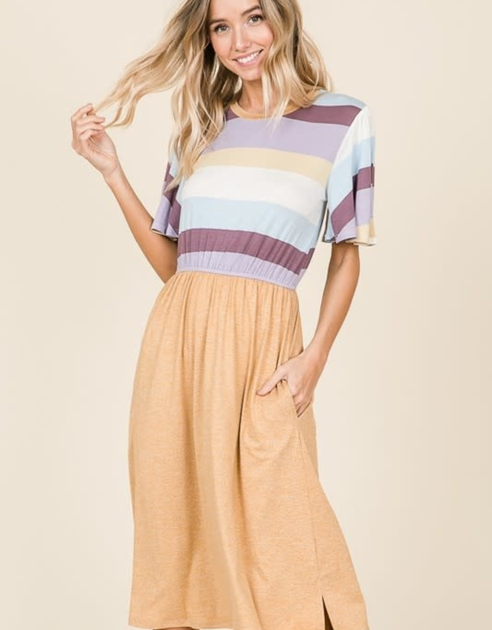 Striped and solid combination midi dress