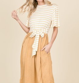 Striped Contrast Belted Dress