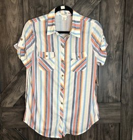 Button up short sleeve top