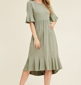 Cropped bell sleeve midi dress