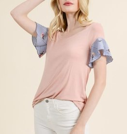Solid Top w/ Striped Floral sleeve