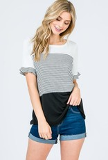 Stripe Color Block Mix Ruffle Sleeve