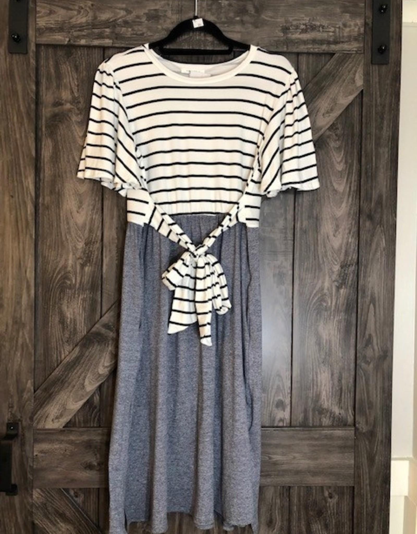 Striped Contrast Belted Dress