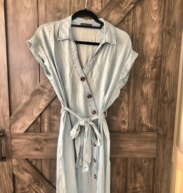 Button Down belted denim dress