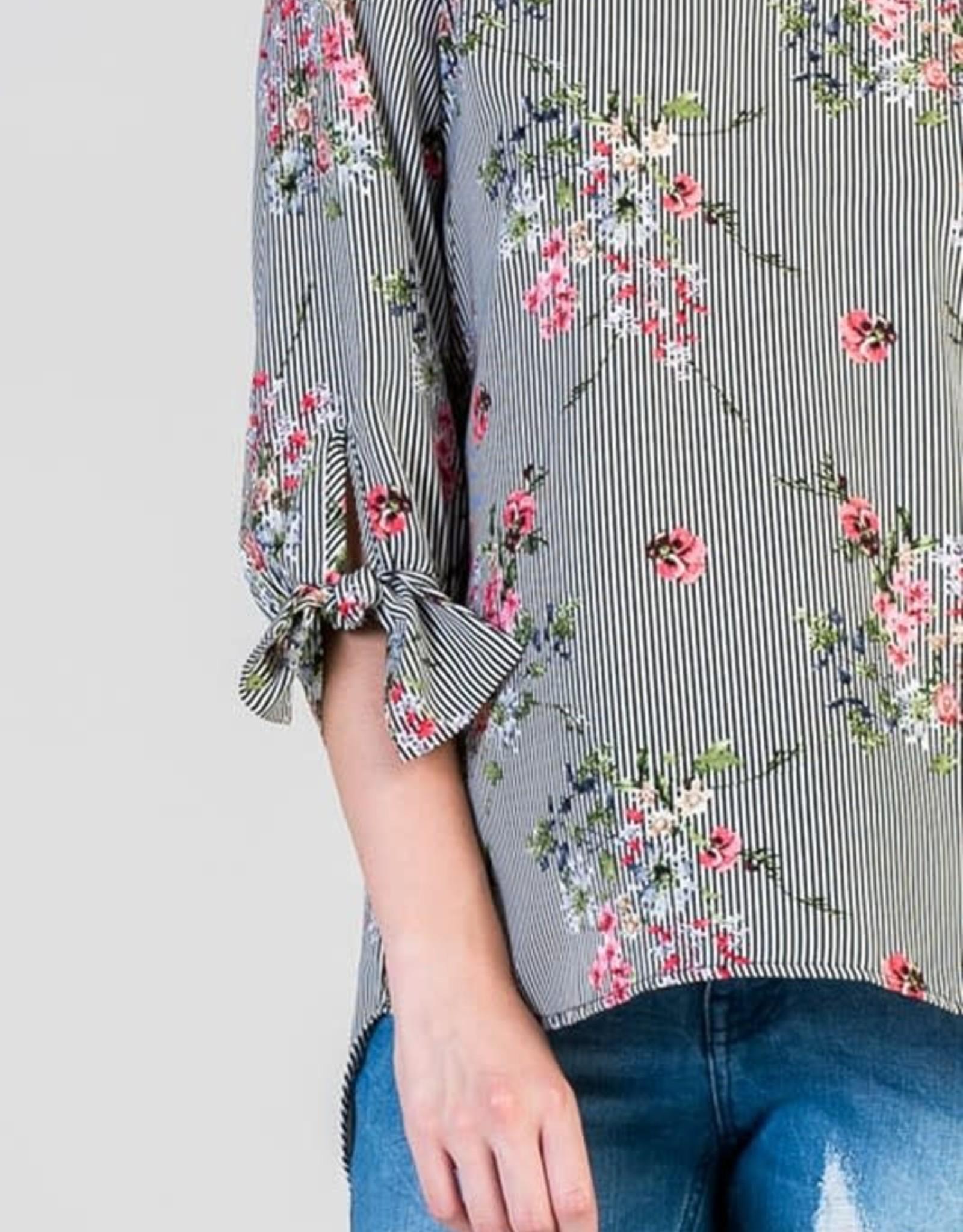 Floral Stripe 3/4 length tie sleeve