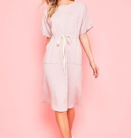 Knit Tie Waist front pocket dress
