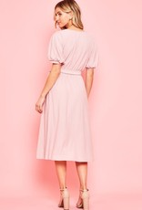 Texture solid tie waist dress