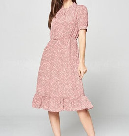 Ruffled Hem Pattern Dress