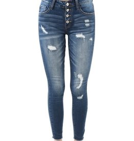 KanCan Button Fly slight distressed ankle skinny jeans