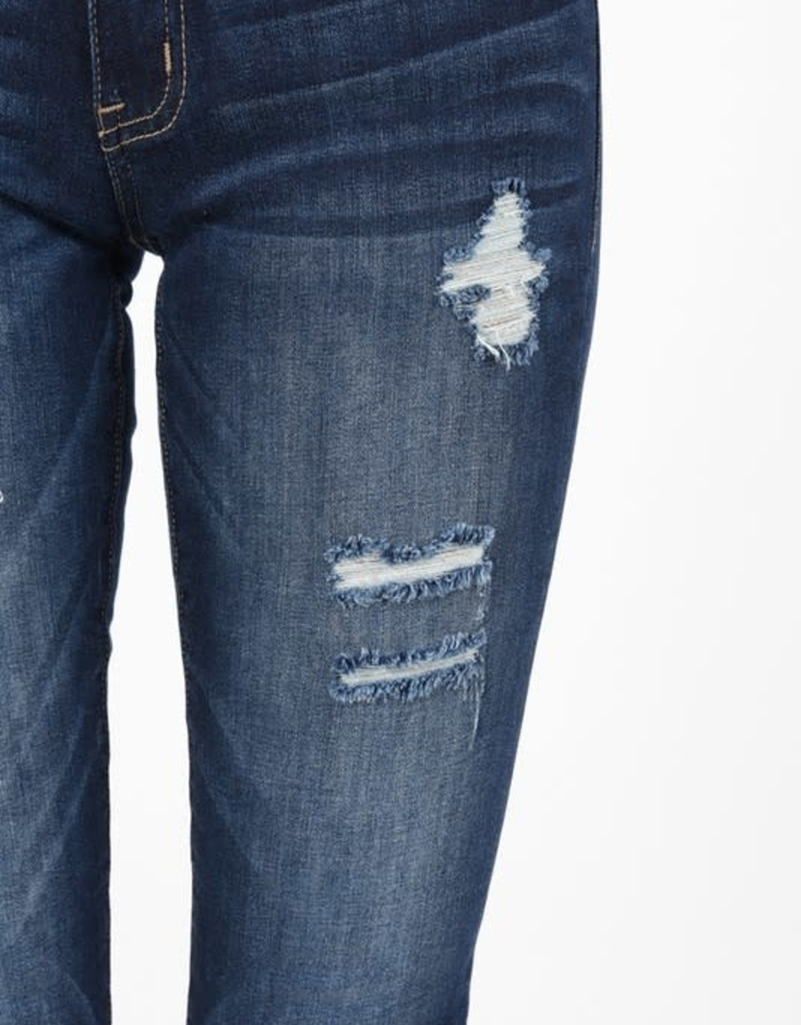 Low rise distressed cuffed