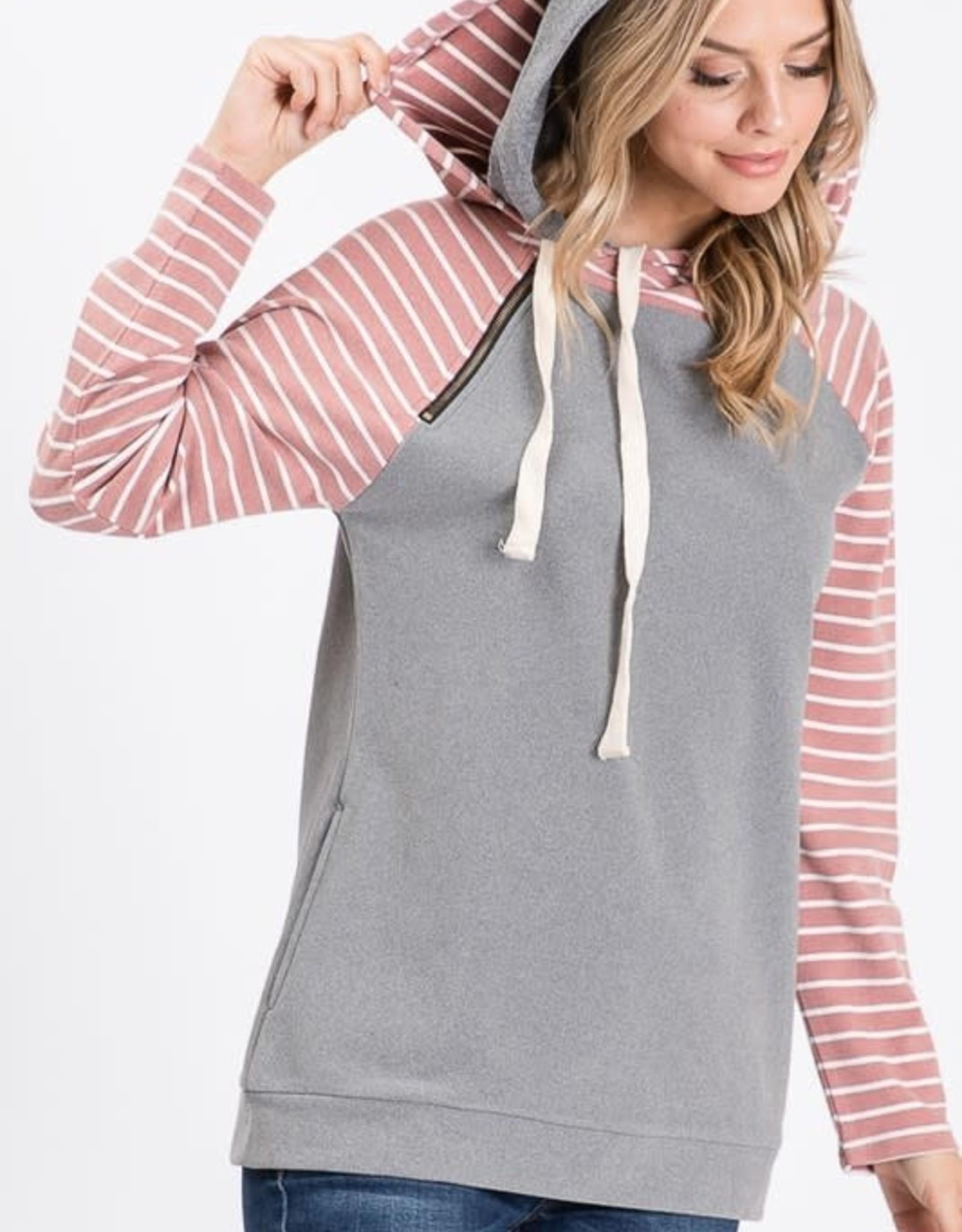 Side Pocket stripe/solid  hoodie