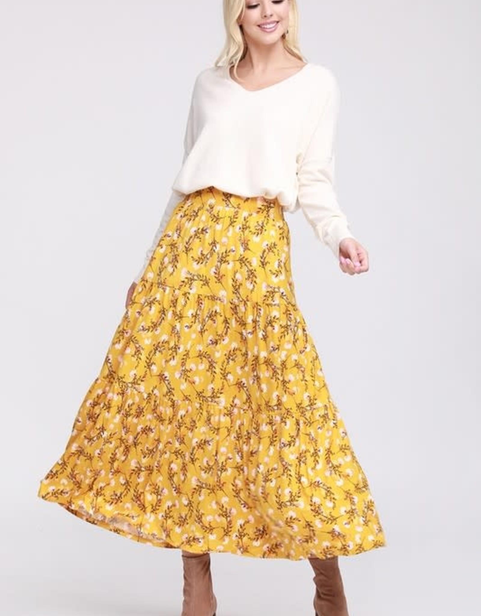 Floral shirring maxi skirt