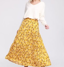 Floral shirring maxi skirt