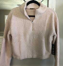 Fleece pull over half zip crop