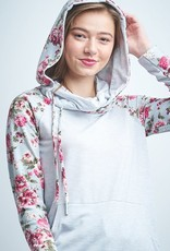 Stripe and floral cowl neck hoodie