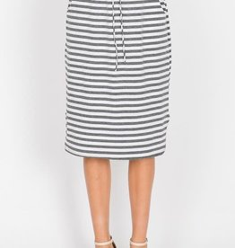 Striped Midi Skirt w/pocket