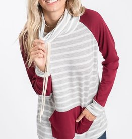 Striped Cowl Neck Sweatshirt