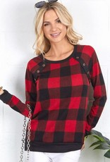 Buffalo Plaid  pull over w/button trim
