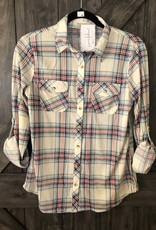 O. Plaid 3/4 length roll up sleeve