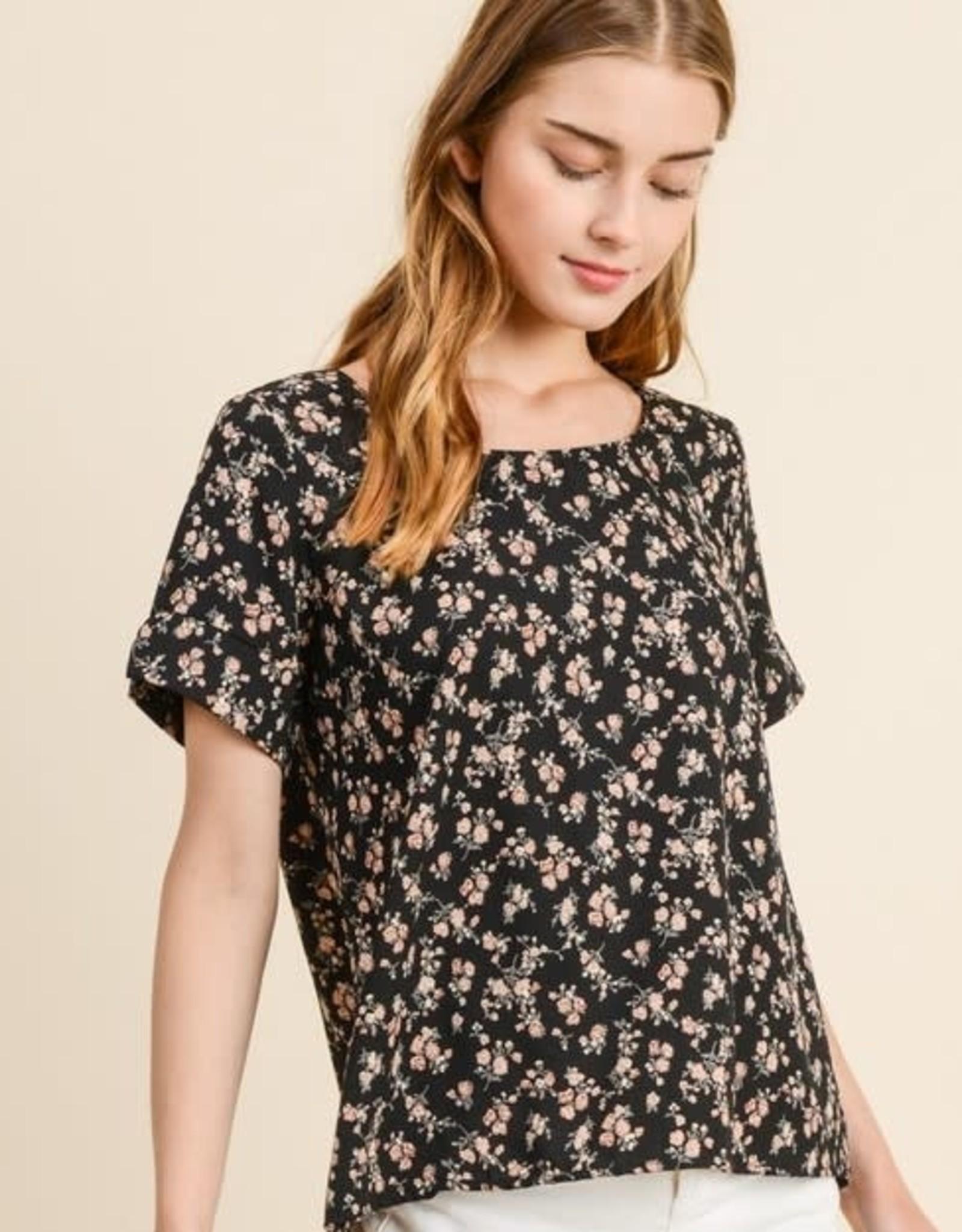 Black Floral slit sleeve top