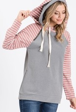 Side Pocket stripe/solid  hoodie