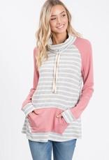 Striped Cowl Neck Sweatshirt