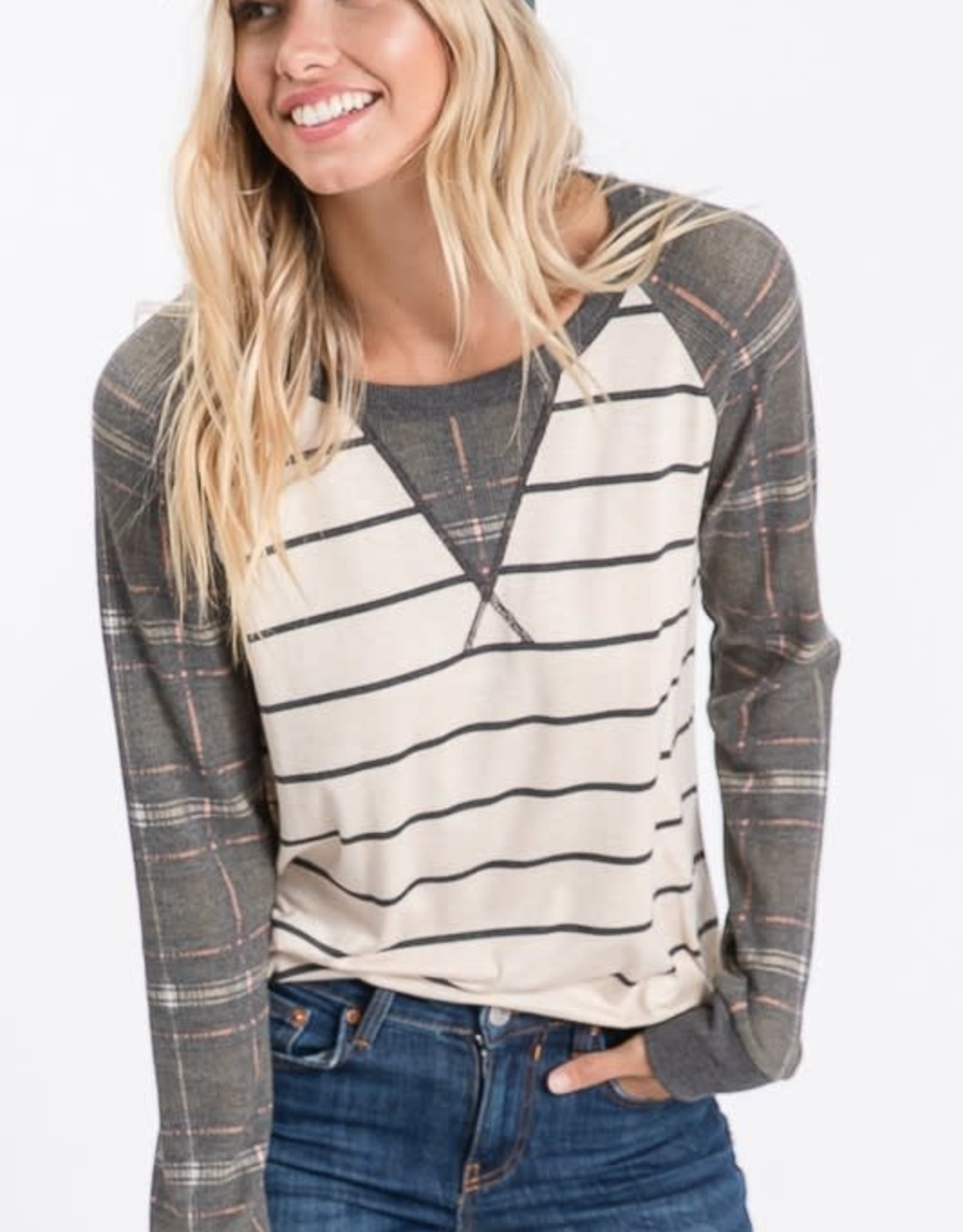 Striped & Plaid baseball  long sleeve T