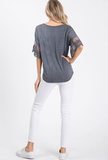 Lace Sleeve, tie front top