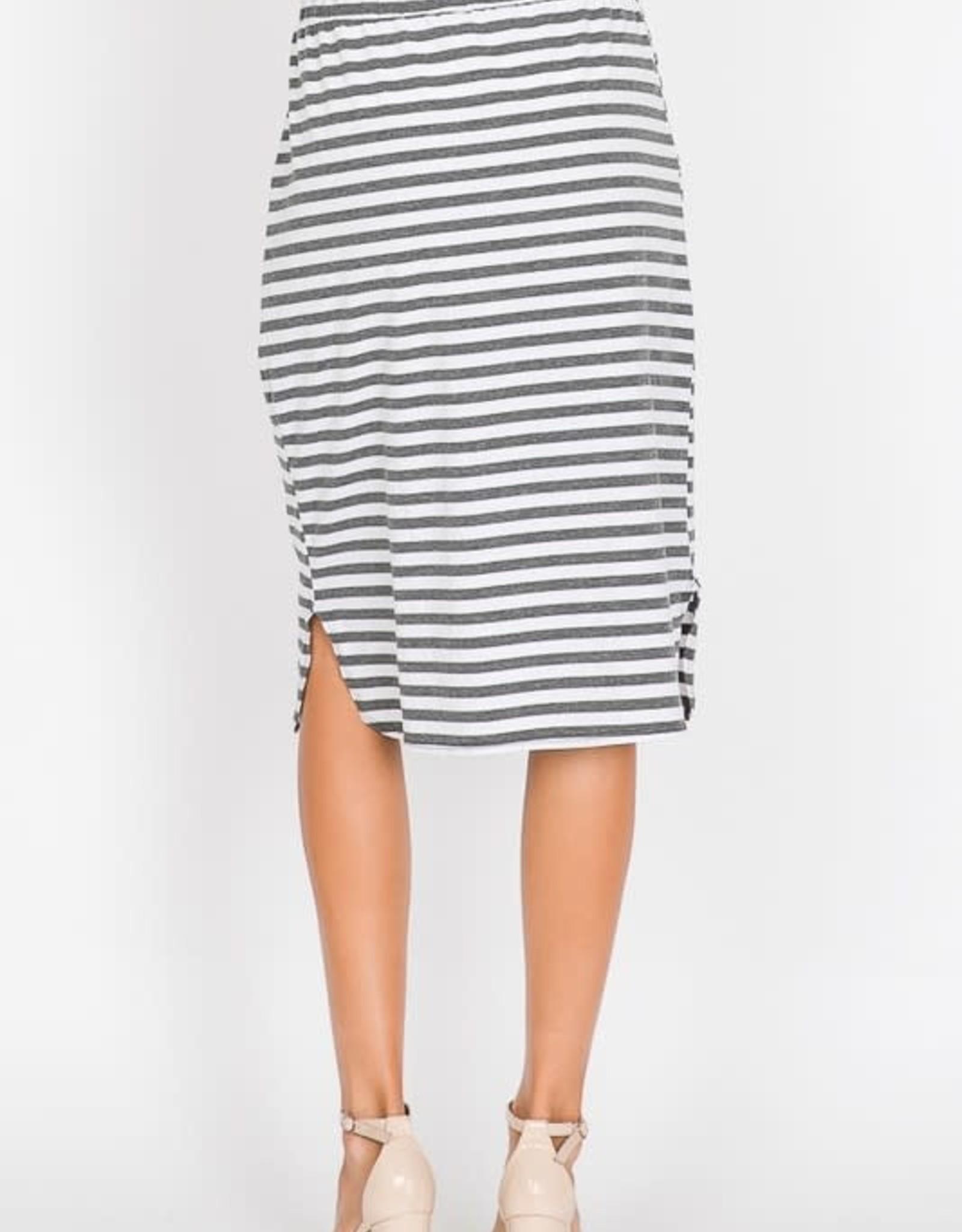 Striped Midi Skirt w/pocket