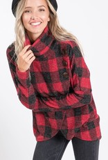 Plaid Button Detail Top