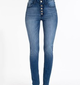 Kan Can High Waist Skinny 5 Button Blue Denim