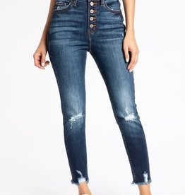 Kan Can High Waist 5 Button skinny distress frayed ankle