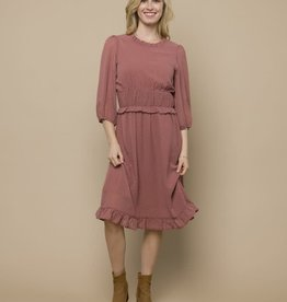 Smocked Waist Line Dot Dress