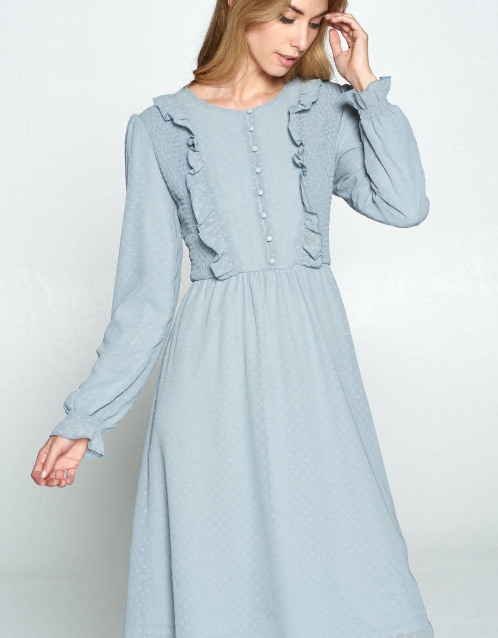 Smocked button detail dot dress