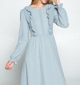 Smocked button detail dot dress